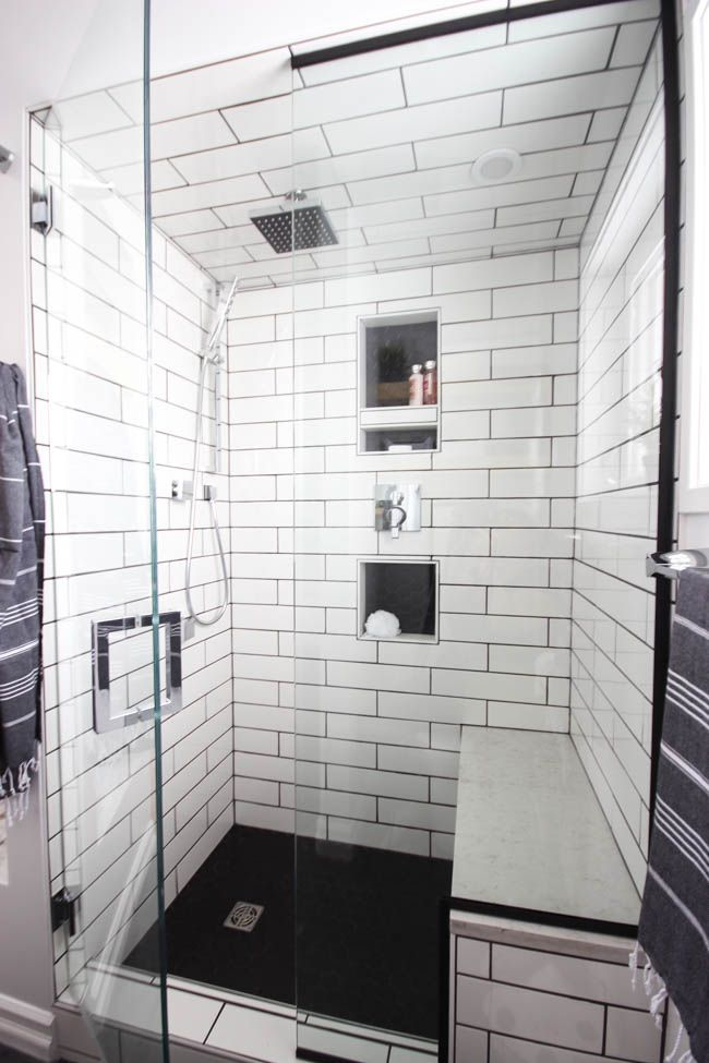 Modern Bathroom Reveal | Black hexagon tile, Wood grain tile and ...