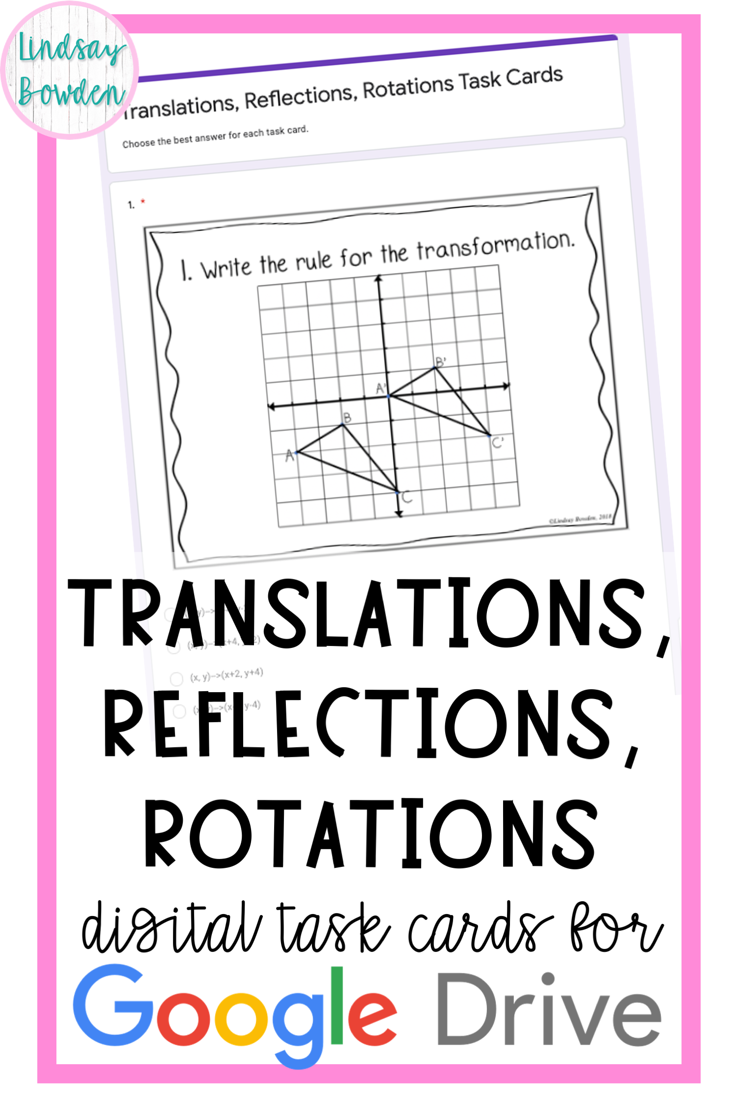 Translations Reflections Rotations Digital Task Cards In
