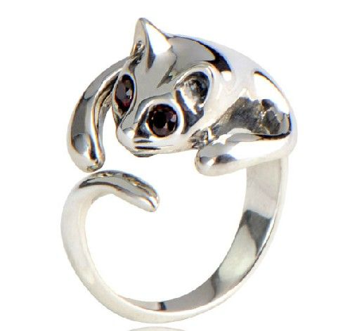 silver cat ring the cat lady in me is screaming omg i