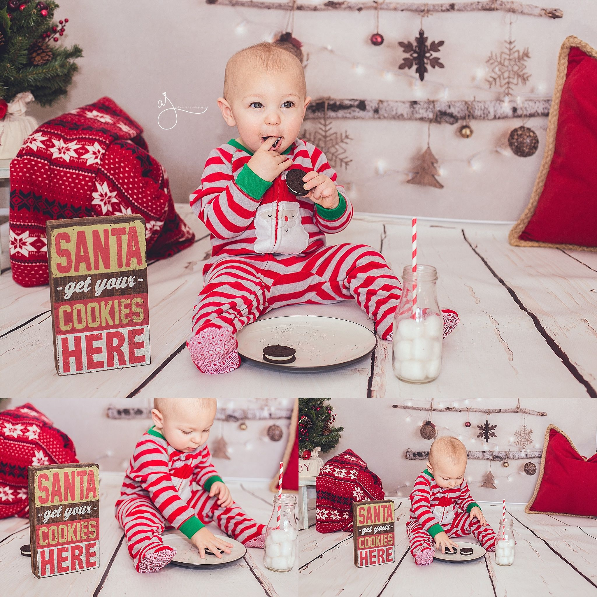 Christmas cookies indoor mini session pajamas photos Abby Jayne Photography