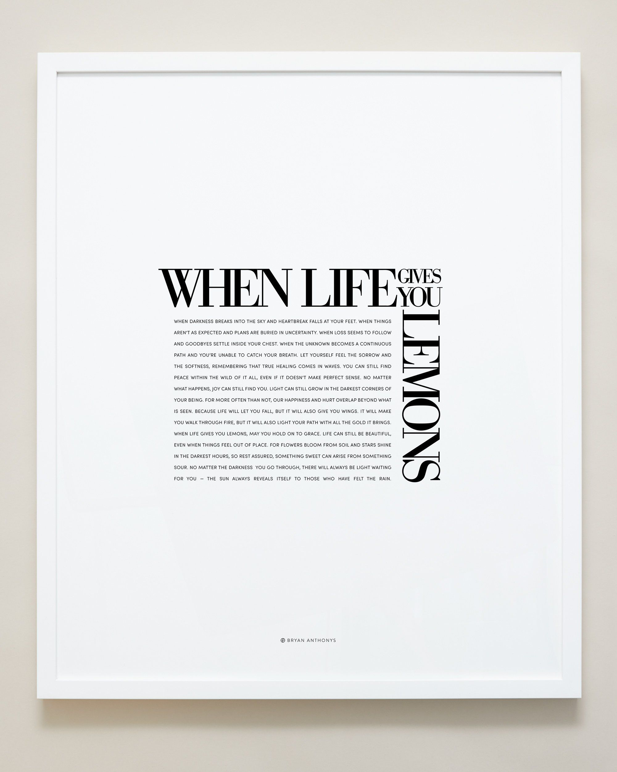 When Life Gives You Lemons Editorial Framed Print - White / 20x24