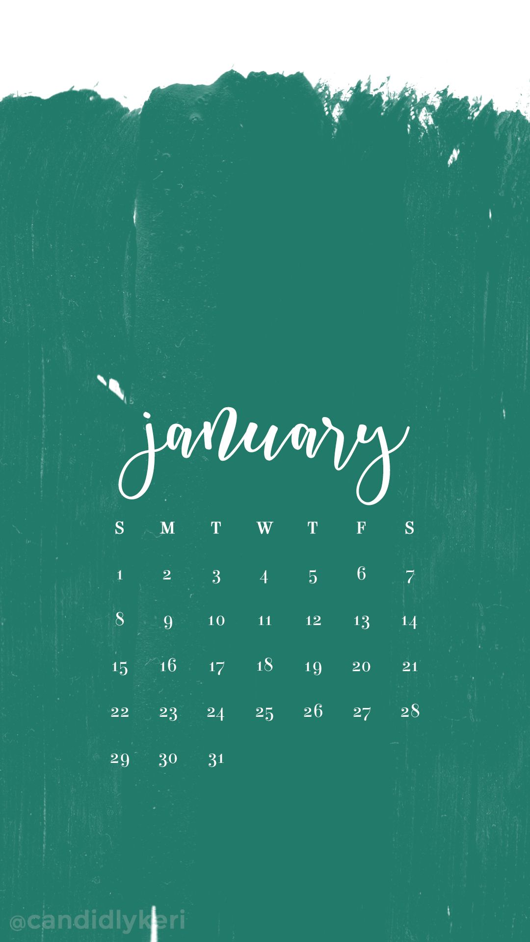 Teal turquoise paint strokes January calendar 2017 wallpaper you can