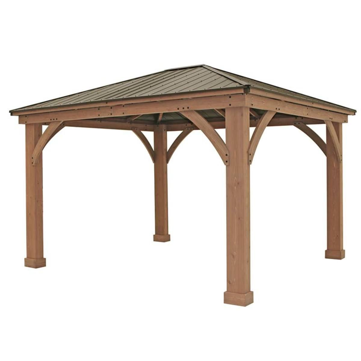 Yardistry 14ft X 12ft 4 3 X 3 7m Cedar Gazebo With Aluminium Roof Costco Uk Outdoor Pergola Pergola Aluminum Roof