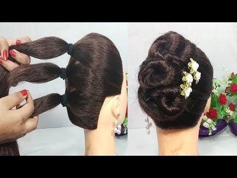 5 Mins Hairstyle For Wedding Easy Hairstyles For Long Hair Updo Hairstyle Simple Hai Easy Hairstyles For Long Hair Simple Bridal Hairstyle Long Hair Updo