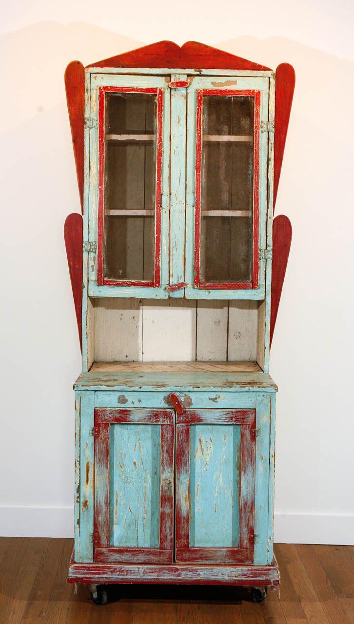 Mexikanische Küchenmöbel circa 1890 to 1910 painted trastero cupboard cabinet
