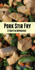 Pork stir fry is extremely simple, satisfying, and healthy - oh yes, and 21 Day Fix approved! This recipe uses staple ingredients - just add pork and go!