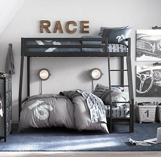 industrial loft boys bedroom twin over full bunk bed racing