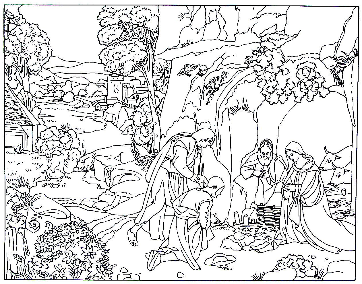 The Adoration Of The Shepherds Renaissance Painting By Giorgione Printable Coloring Book Page