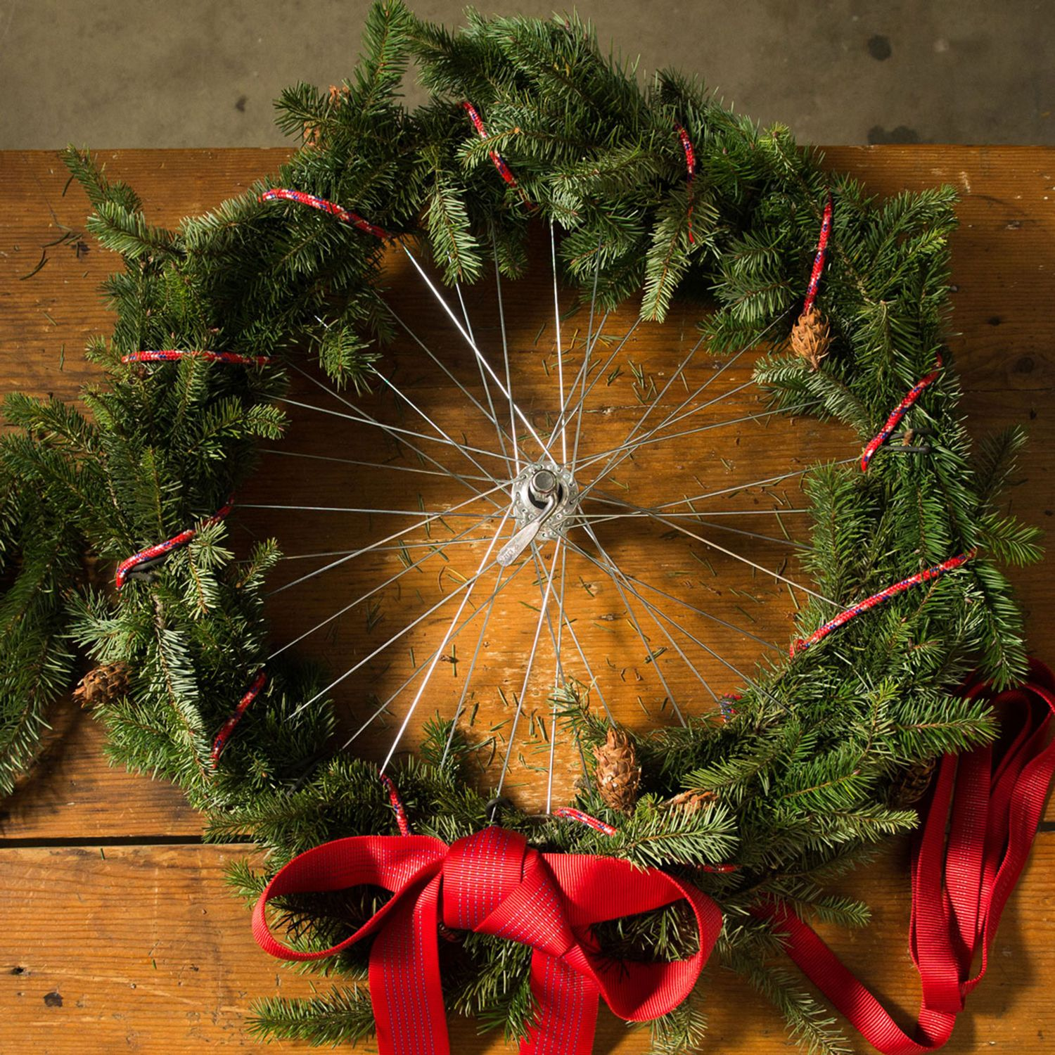 Decorate for the holidays by using old bike wheels