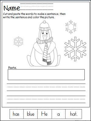 Free penguin cut, paste, and write the sentence printable page ...