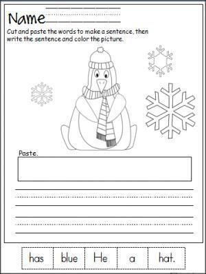 penguin cut and paste sentence practice kindergarten literacy kindergarten writing. Black Bedroom Furniture Sets. Home Design Ideas