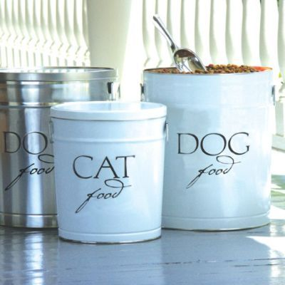 pet food storage canisters from ballard i have the silver cute but i think you could diy for much cheaper