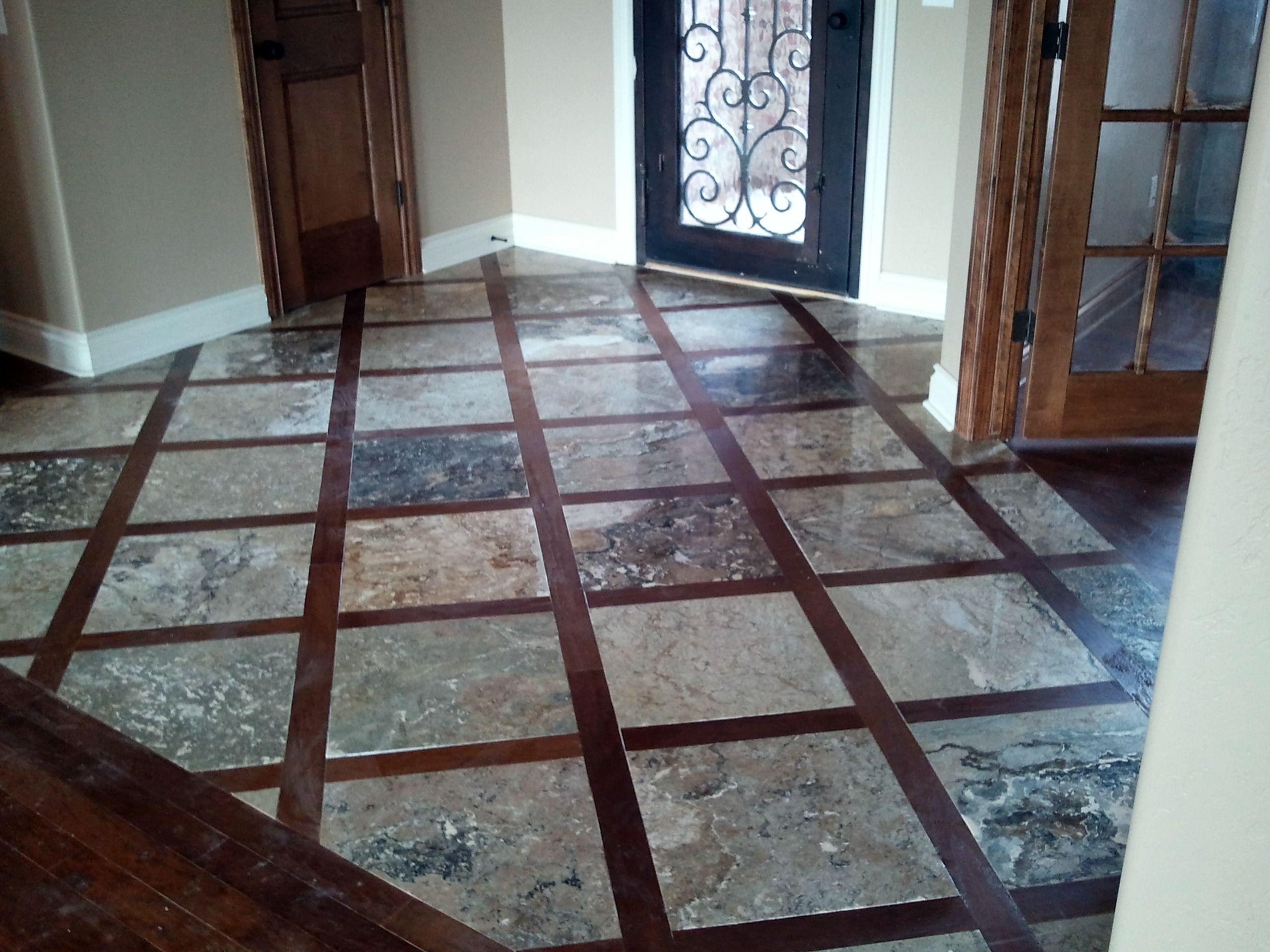 Wood Floor And Travertine Tile Luxury Vinyl Plank
