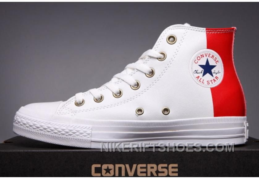 CONVERSE Red Leather Two Panels Chuck Taylor All Star High Tops Lastest  C8weD f1db4548424