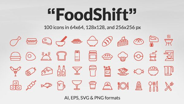 foodshift icon set 100 free food drink icons ai eps