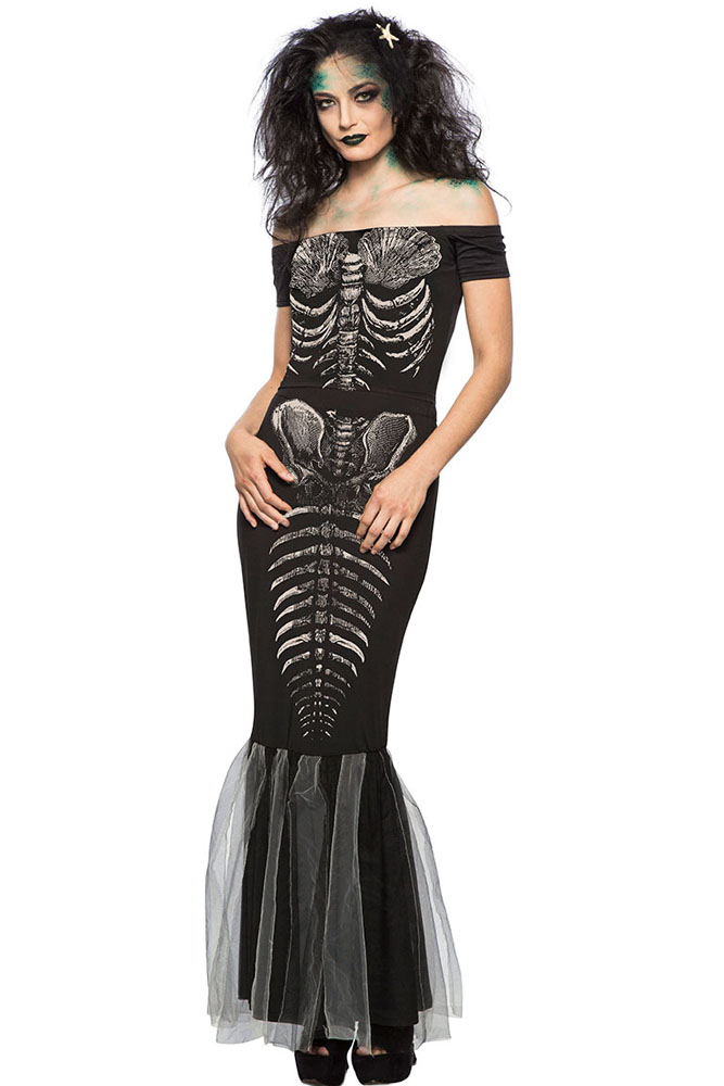 46133f95022b Halloween Party Skeleton Mermaid Costume | Dropship Costumes ...