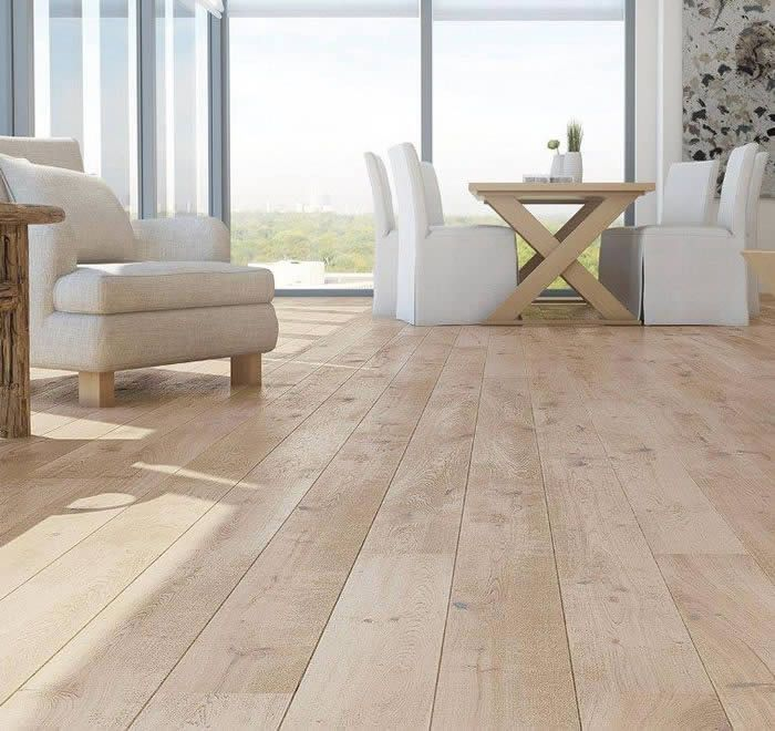 Barlinek Oak Sense is an extra wide engineered plank floor with a white  brushed natural oil Wood FlooringLight