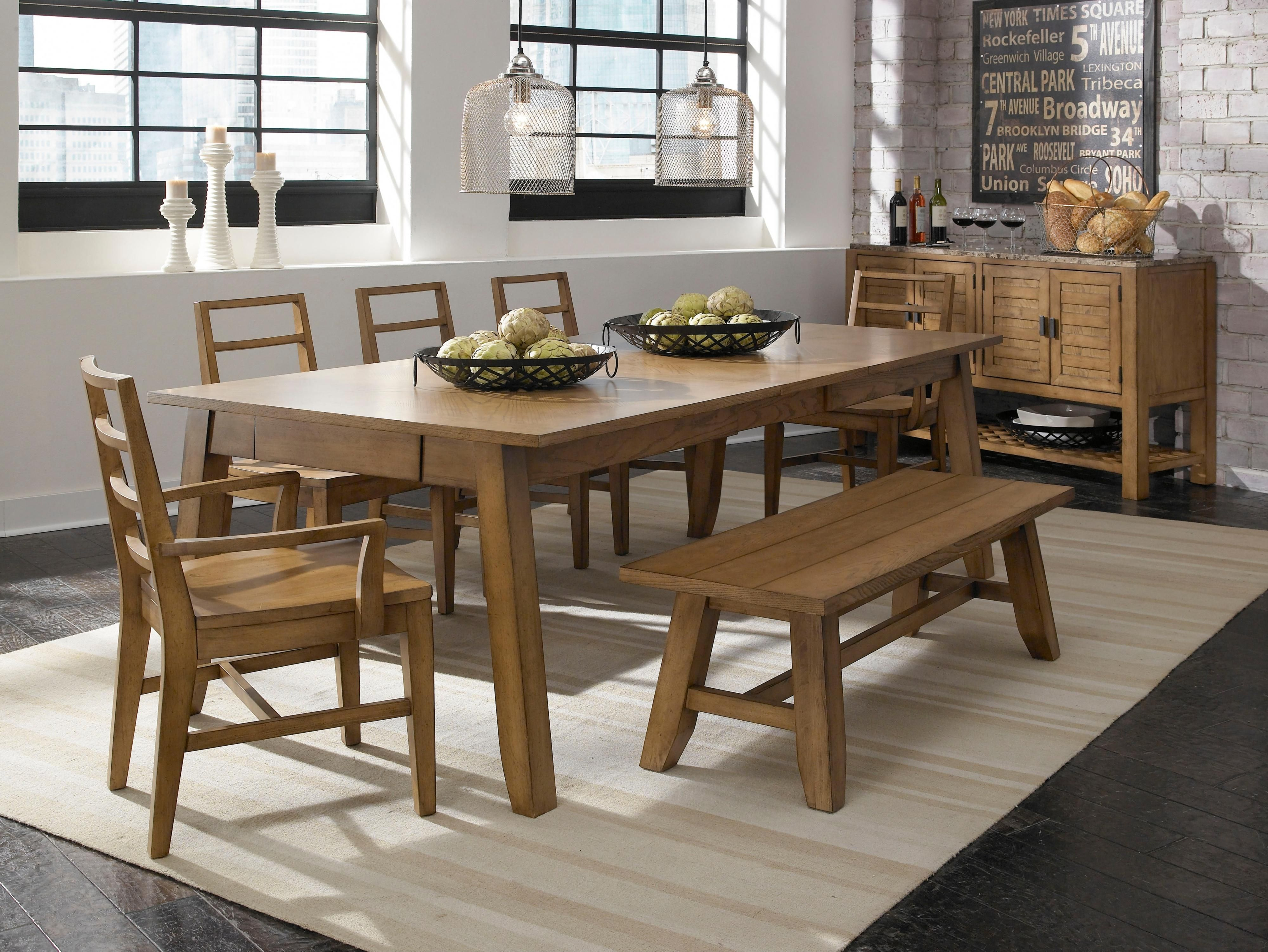 Ember Grove 7 Piece Table Chair Bench Set by Broyhill Furniture