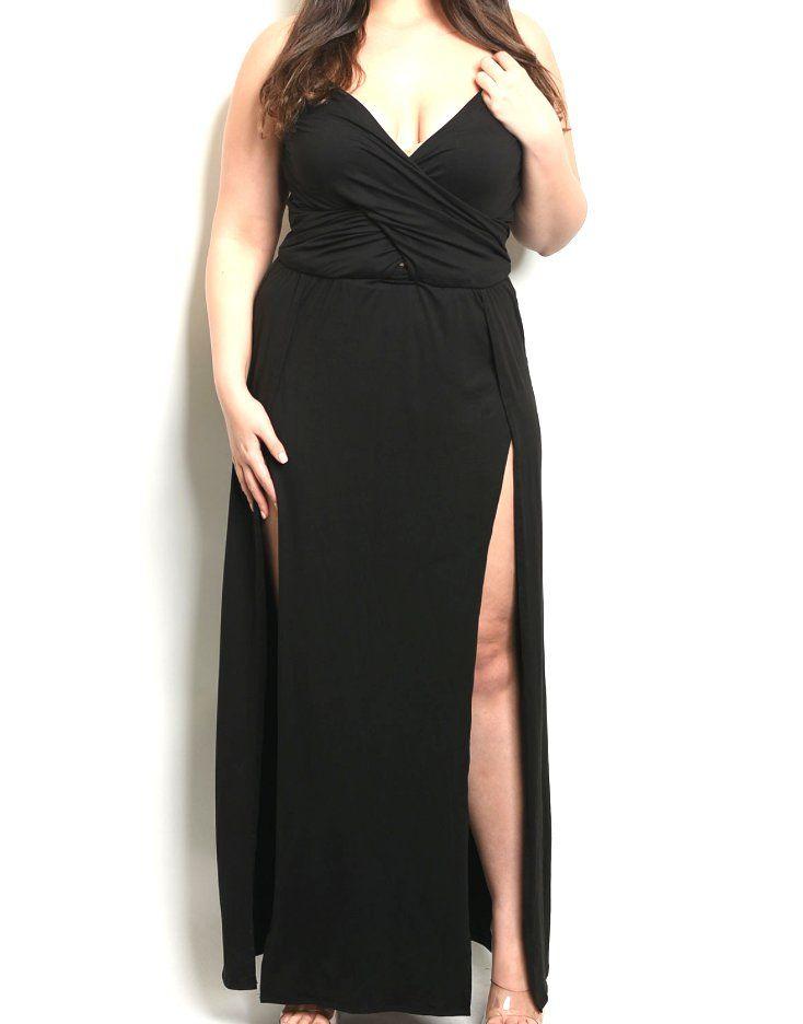 $39+Plus+Size+Overlap+Bust+Double+Slit+Maxi+Dress   EXPOSED ...