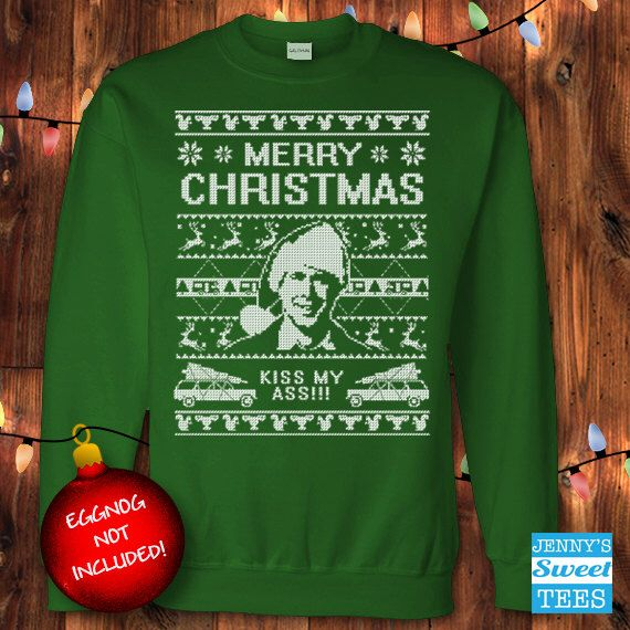 ugly christmas sweater kiss my ass christmas vacation clark griswold sweatshirt c11 by jennyssweettees on etsy