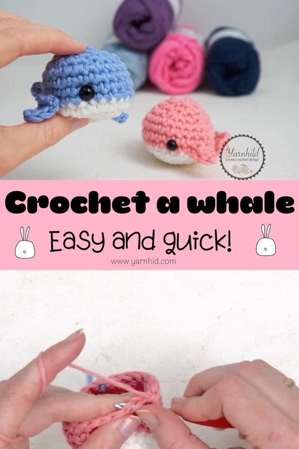 How to crochet a cute amigurumi whale. Easy croche