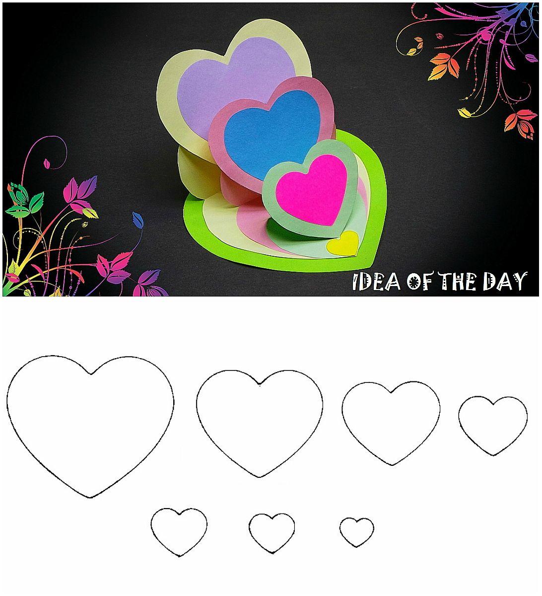 Diy Triple Heart Easel Card Tutorial This Template For Triple Heart Easel Card How Simple Greeting Card Designs Cute Valentines Card Diy Valentines Cards