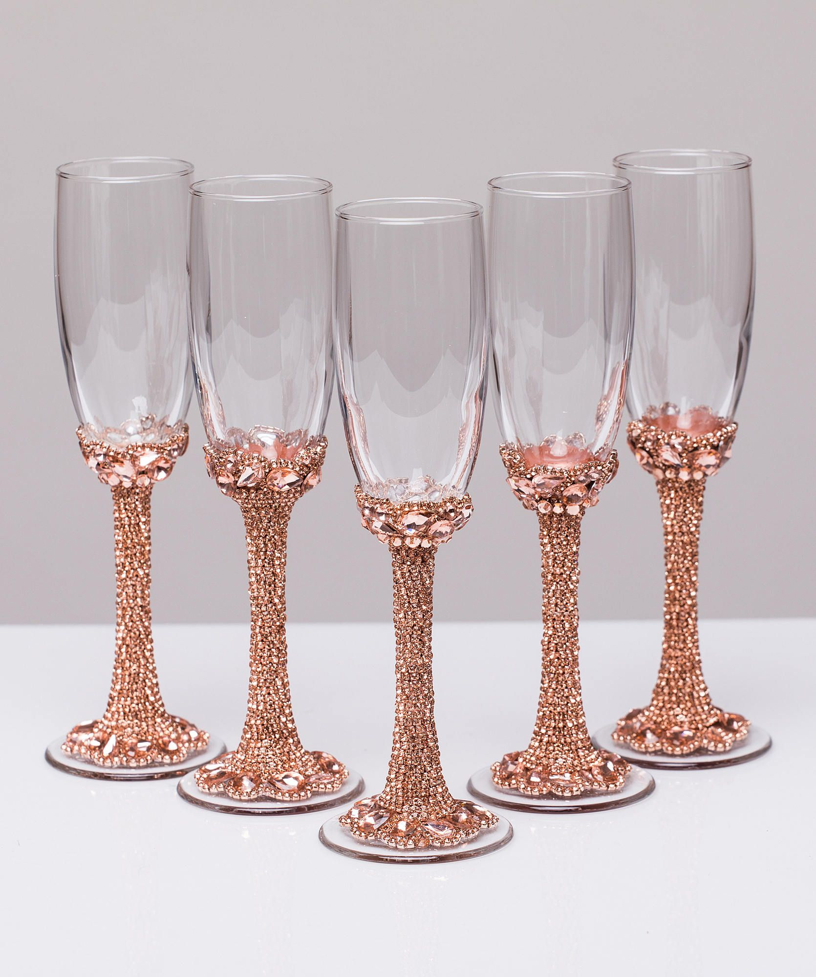 Personalized glasses rose gold Champagne flutes wedding toasting ...