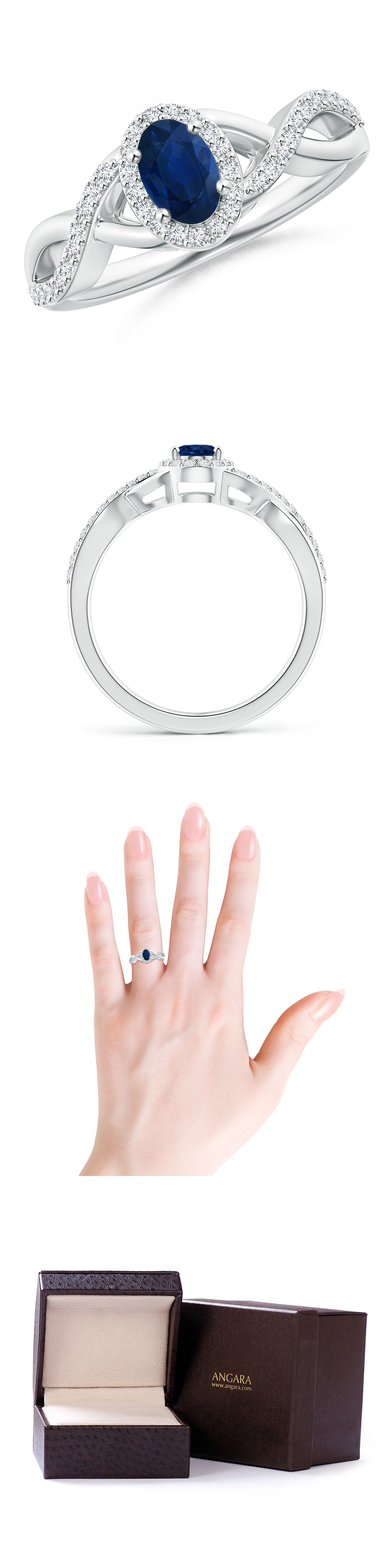 Gemstone 177020: Natural Blue Sapphire Diamond Halo Crossover Engagement Ring In 14K White Gold BUY IT NOW ONLY: $773.1