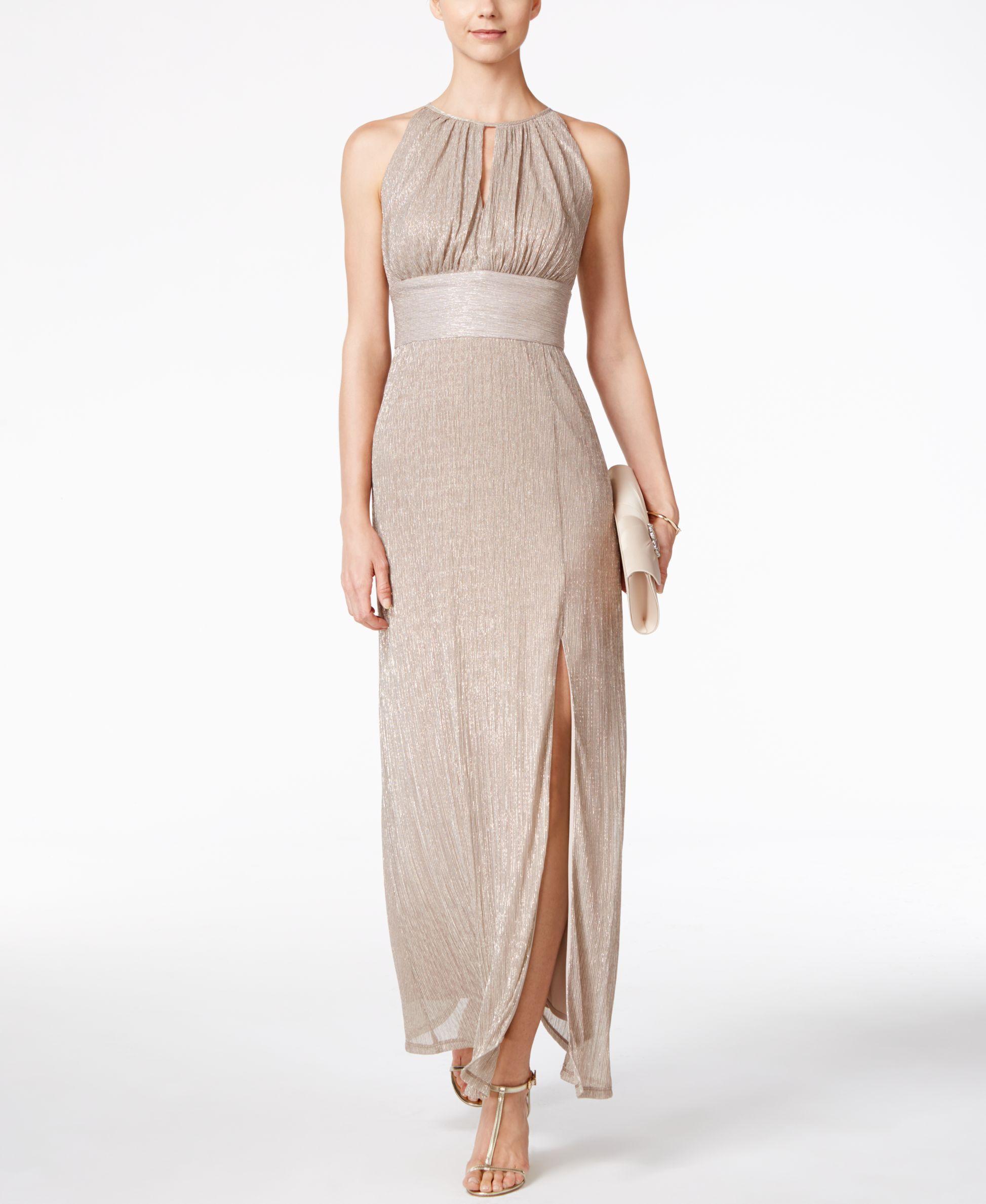 R u m richards metallic knit keyhole halter gown products