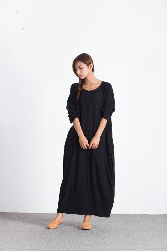 3a6091f1786 Women s Loose maxi dress oversize linen cotton pullover scoop neck linen  caftan plus size clothing l