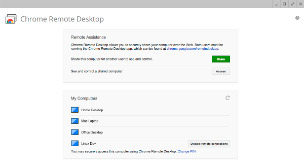 A Google download and app to access your computer from a