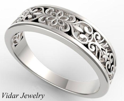 e4074ce3e6cba Womens Wedding Band Delicate Lace 14K Gold Wedding Ring, Unique ...
