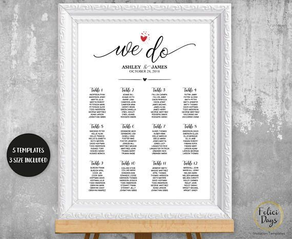 We Do Wedding Seating Chart Sign, Calligraphy Seating Chart