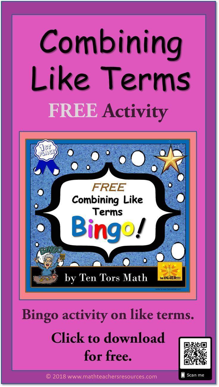 Combining Like Terms FREE bingo! activity Combining like