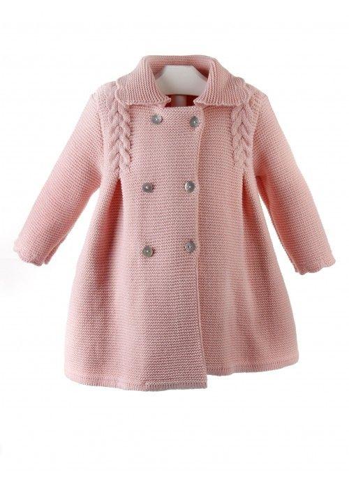 Abrigo de lana para ni a de punto bobo con ochos y lazo for Zapateras para ninas