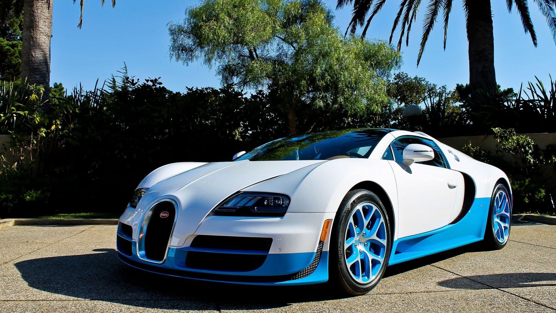 Download Wallpaper 1920x1080 Bugatti Veyron Vitesse Blue Palm Trees Full Hd Hdtv Fhd 1080p Hd Background Bugatti Veyron Vitesse Bugatti Veyron Bugatti