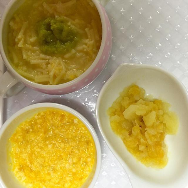 ☆コーンクリームスパゲティ ☆かぼちゃとササミのホワイトソース和え ☆さつまいもりんご  一色… - 3件のもぐもぐ - 離乳食4/28-2 by ennas1122