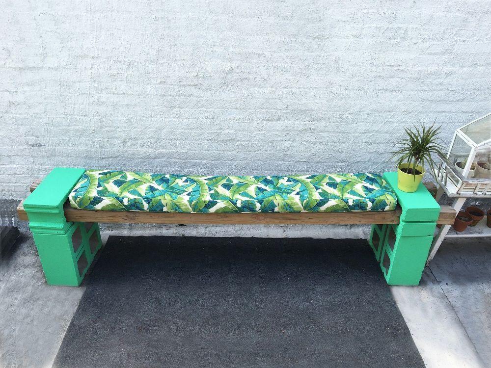DIY Cement Block Bench Garden bench cushions, Outdoor