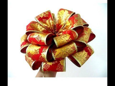 Mo os navide os con flores en cintas de organza youtube - Lazos de navidad para el arbol ...