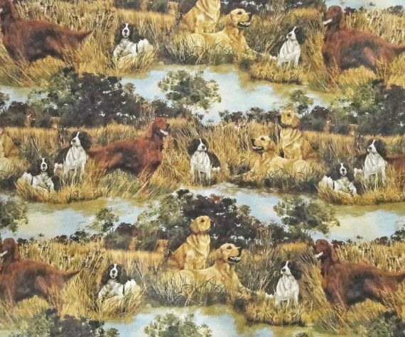 Hunting Dog Fabric Springer Spaniel Golden Retriever