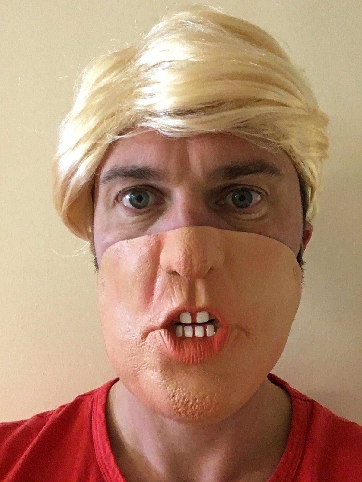 Donald Trump Mask Half Face   Blond Comb Over Wig Us President Fancy Dress   ebay  Fashion 3babcb228