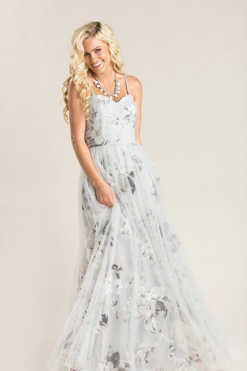4943f4f576 Ellen Grey Floral Tulle Maxi Dress - Morning Lavender