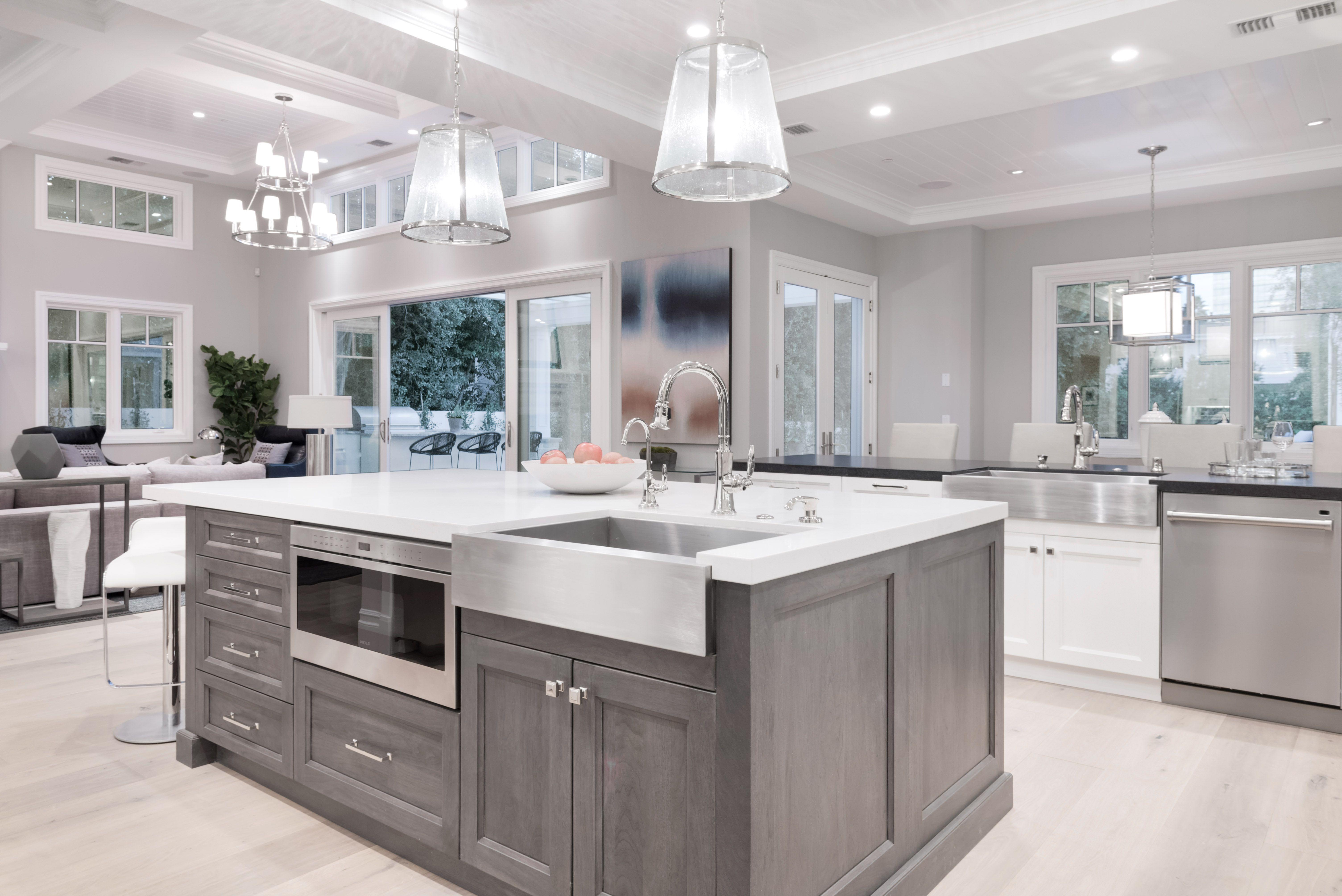 Kitchen, designer kitchen, white kitchen, wood ceilings