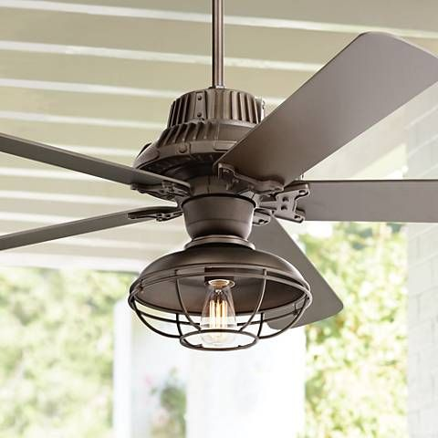 60 Industrial Forge Franklin Park Outdoor Ceiling Fan 17h73 Lamps Plus Farmhouse Ceiling Fan Outdoor Ceiling Fans Ceiling Fan Light Kit