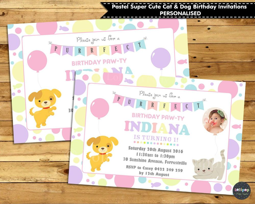 Cats dogs personalised invitations invite 1st first birthday party ...