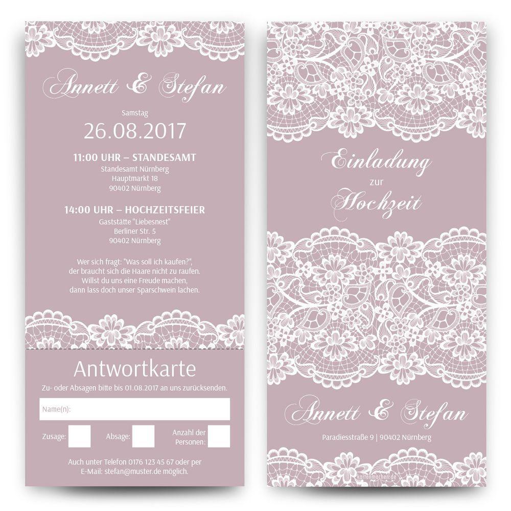 Details zu Hochzeitseinladungen mit Antwortkarte Spitze in Lila