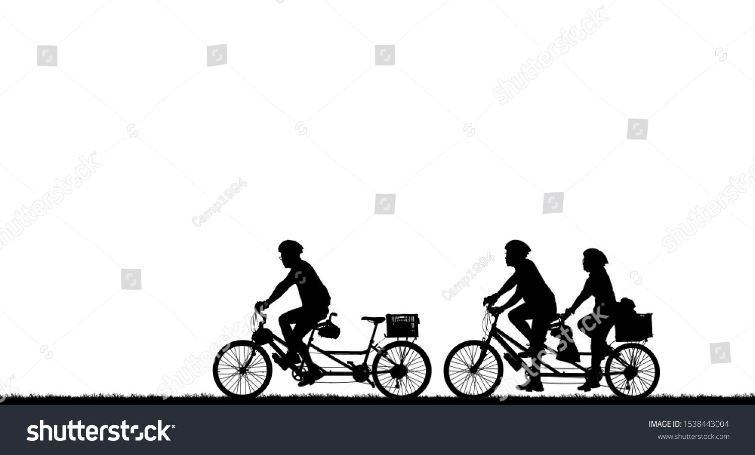 silhouette cyclists bicycle riders on white background