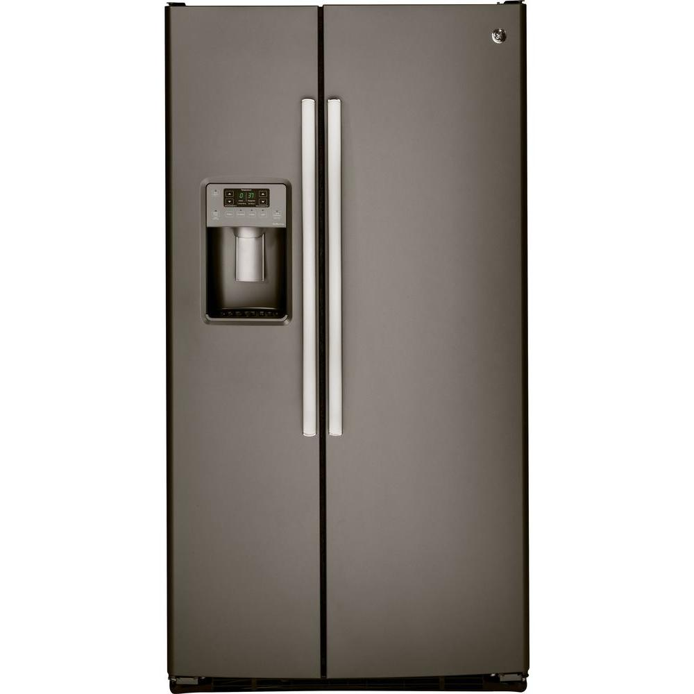Ge adora cu ft side by side refrigerator in slate