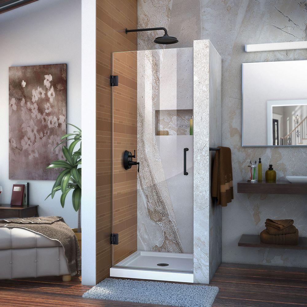 Unidoor 26 Inch W X 72 Inch H Frameless Hinged Shower Door Clear Glass In Satin Black Frameless Hinged Shower Door Black Shower Doors Frameless Shower Doors