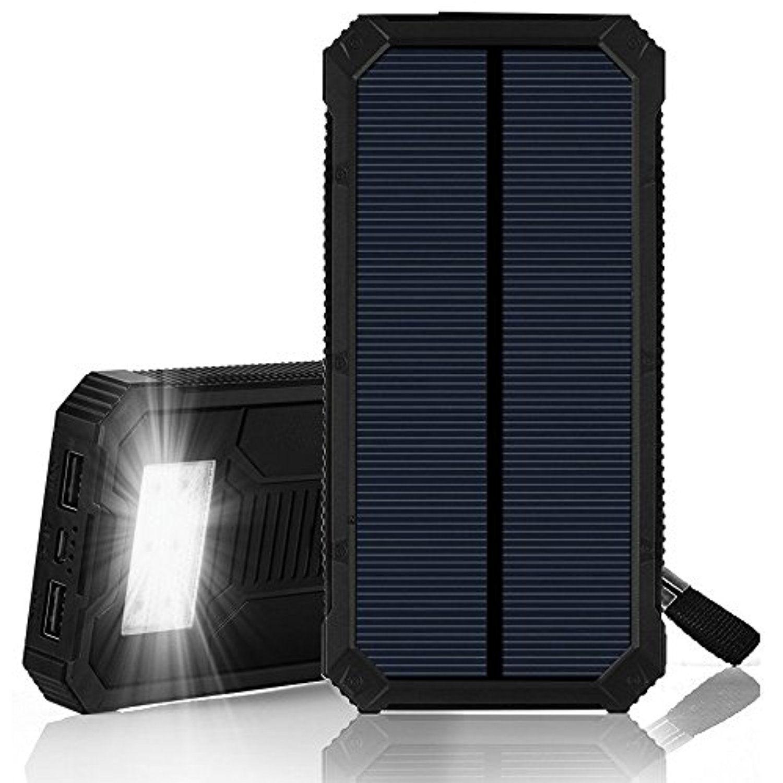 solar charger solar power bank ibeek 12000mah portable 2 usb solar